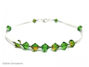 Bangle Bracelet With 2 Tone Green Swarovski Crystals