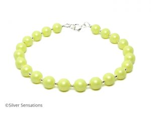 Lemon yellow pearls bracelet