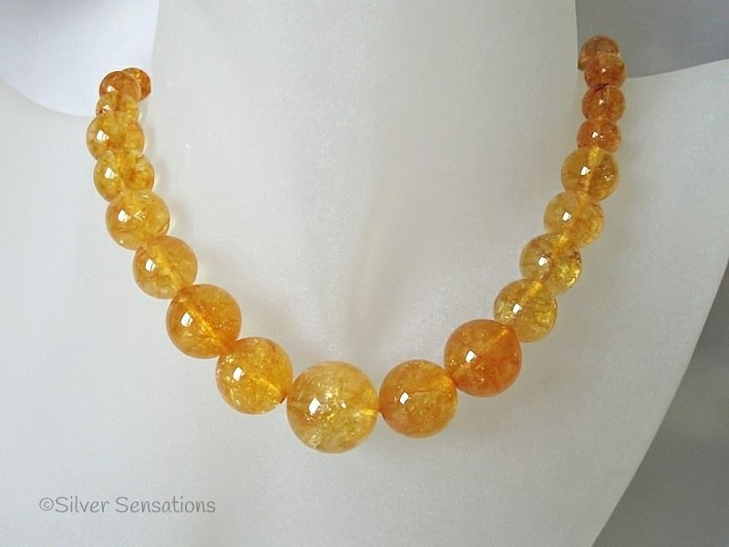 50's/60's Style Graduated Orange Quartz Sterling Silver Necklace