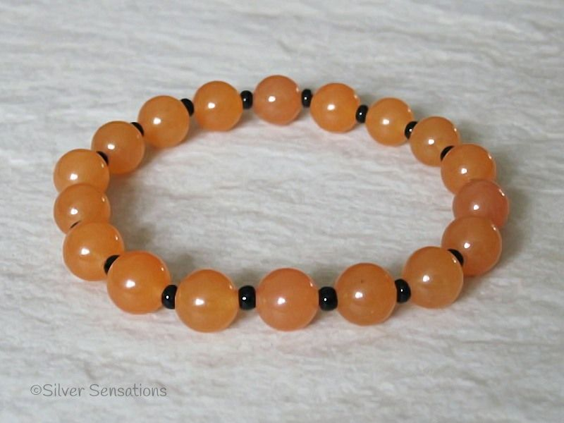 Apricot Orange Jade & Black Beaded Stretch Fashion Bracelet
