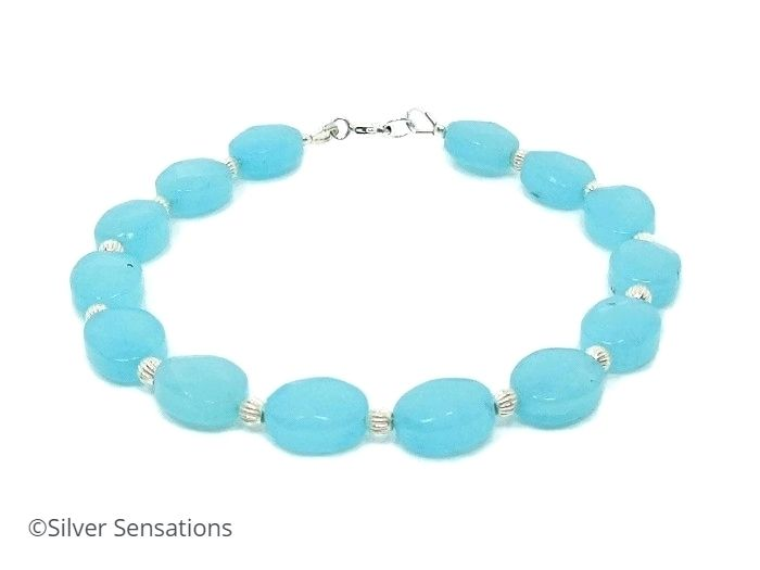 Aqua Blue Amazonite Gemstone Bracelet With Sterling Silver & Faceted Oval Beads | Silver Sensations