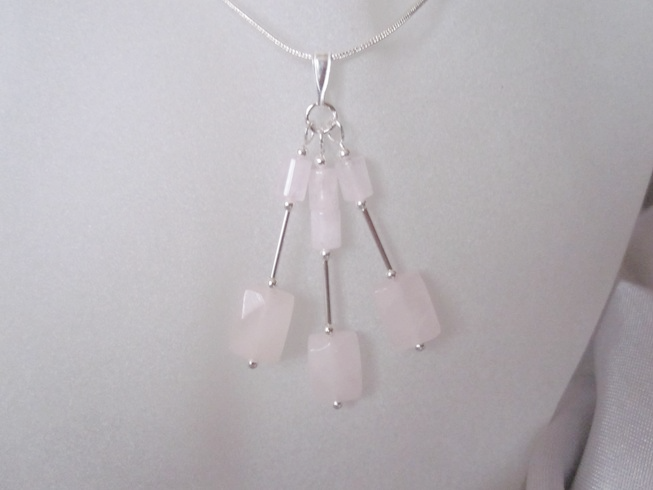Baby Pink Rose Quartz Faceted Oblongs, Tubes & Sterling Silver Trio Pendant