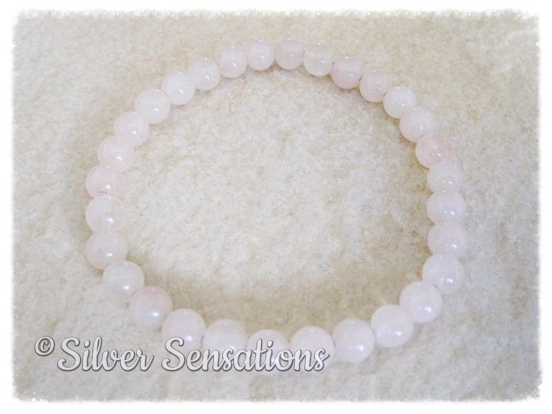 Baby Pink Rose Quartz Round Beaded Fashion Bracelet | Silver Sensations
