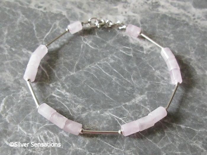 Baby Pink Rose Quartz Small Tube Beads & Sterling Silver Tubes Bracelet