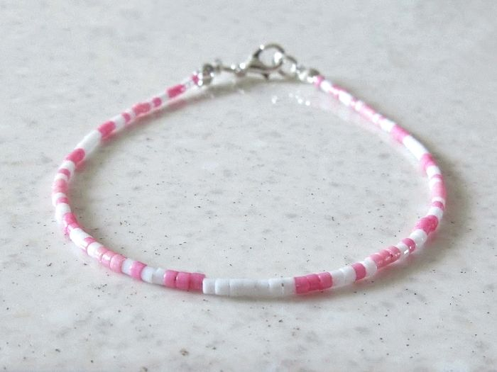 Baby Pink & White Seed Bead Minimalist Friendship Bracelet | Silver Sensations