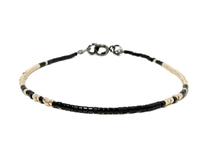 Black & Champagne Gold Seed Bead Stacking Bracelet