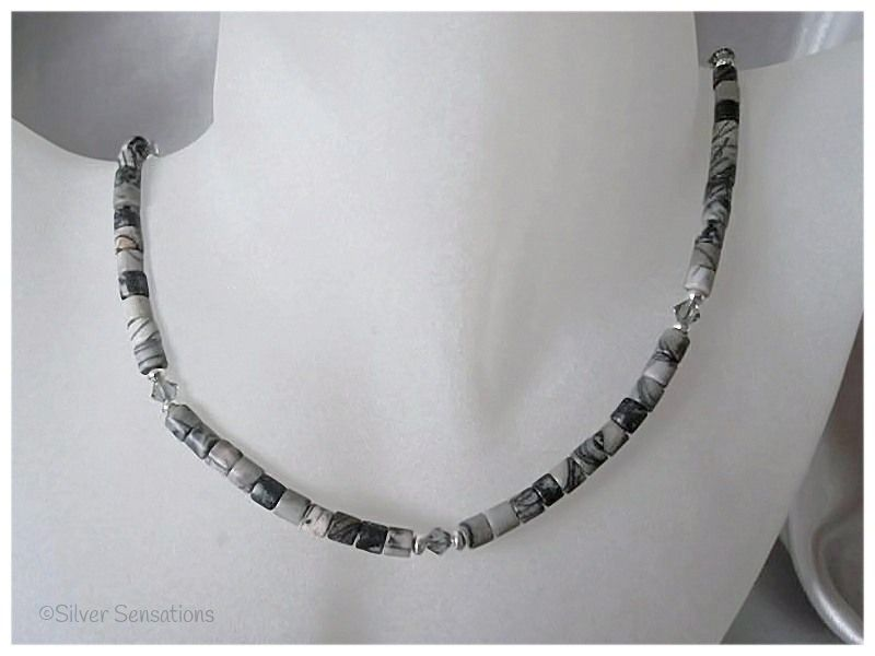 Black Crazy Lace Agate Tubes, Swarovski Crystals & Sterling Silver Necklace | Silver Sensations