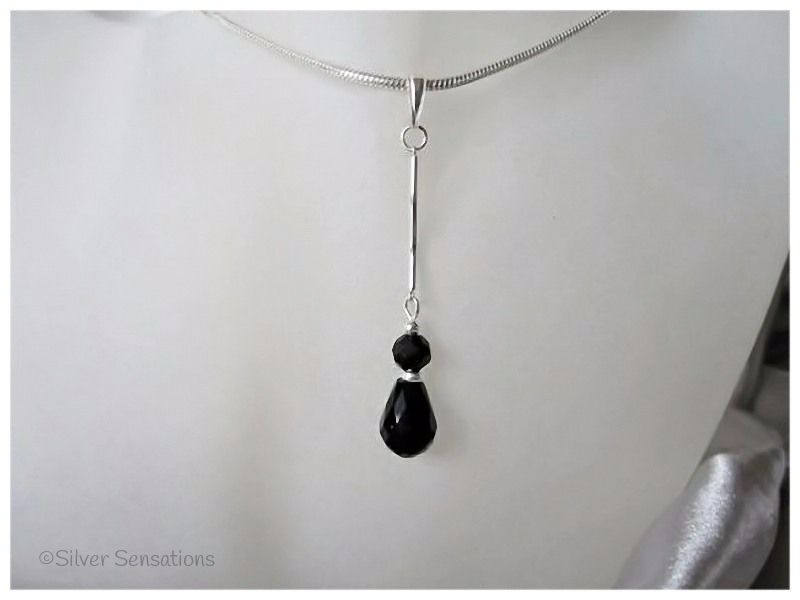 Black Crystal Teardrop & Solid Sterling Silver Curved Bar Pendant