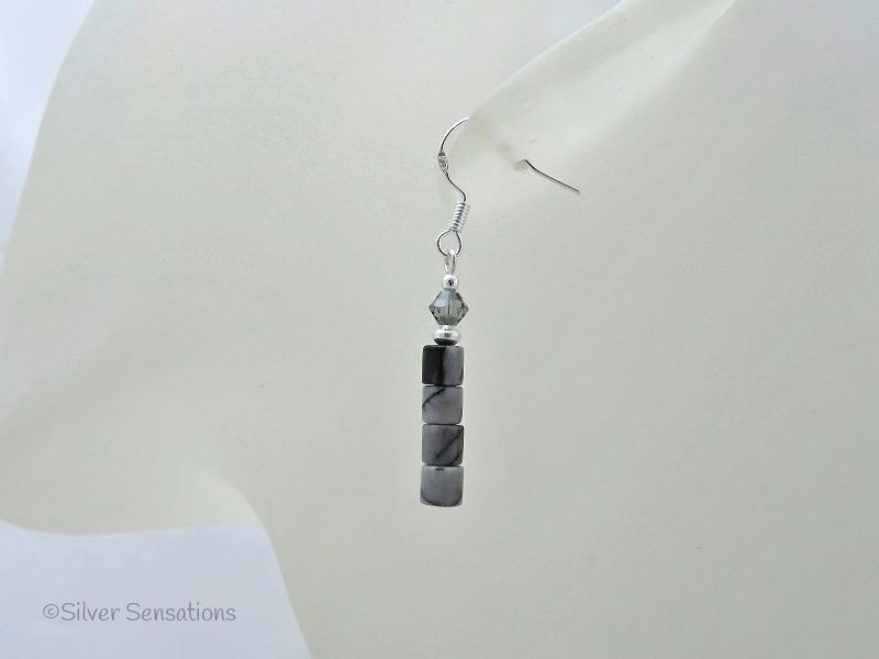 Black & Grey Crazy Lace Agate, Swarovski Crystals & Sterling Silver Earrings