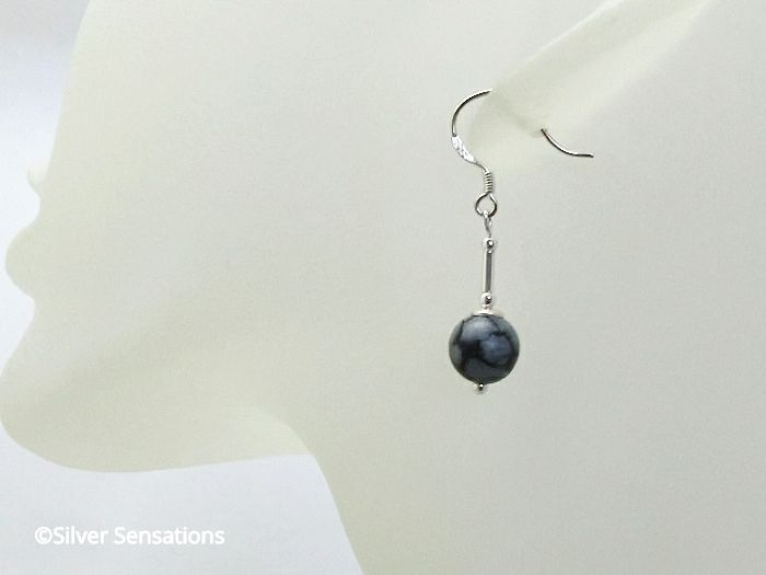 Black & Grey Snowflake Obsidian & Sterling Silver Tubes Earrings