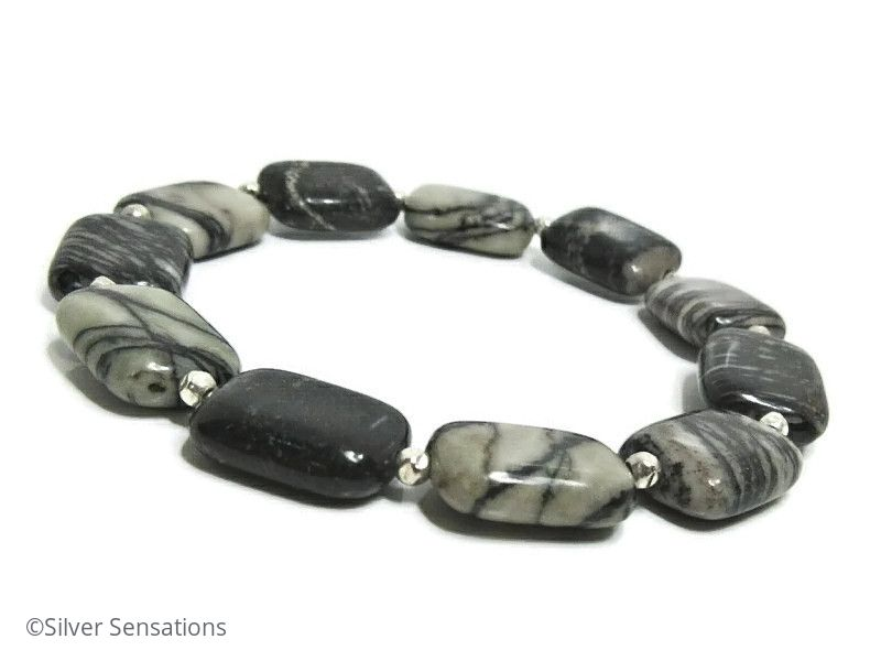 Black & Grey Spider Web Veined Jasper Oblong Beads & Sterling Silver Beads Bracelet