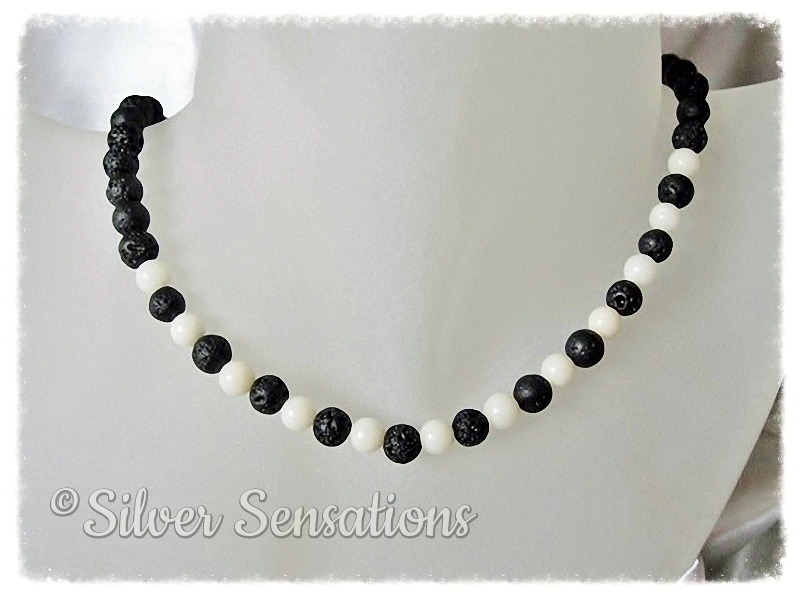 Black Lava Stone & Off White Coral Sterling Silver Necklace