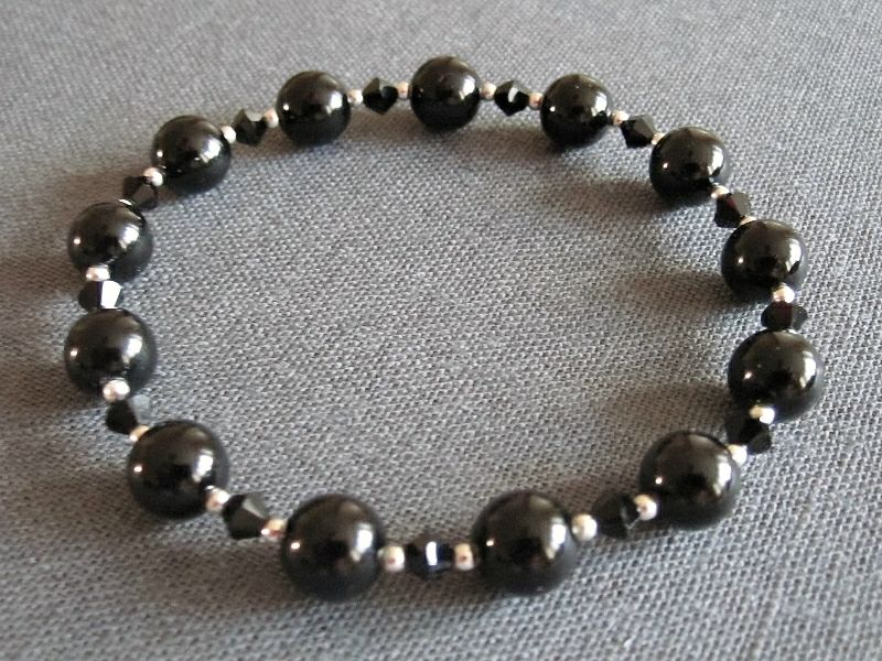 Black Onyx, Black Crystals & Sterling Silver Beaded Stretchy Bracelet