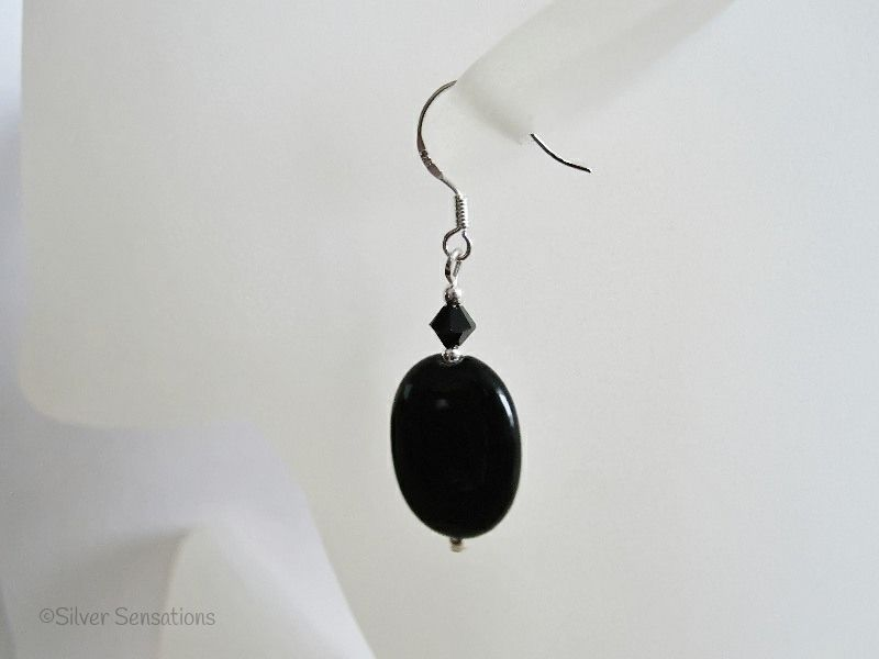 Black Onyx Flat Oval & Swarovski Crystals Sterling Silver Earrings
