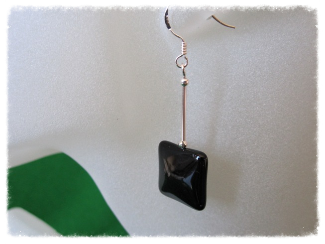 Black Onyx Puff Square Beads & Sterling Silver Tubes Earrings