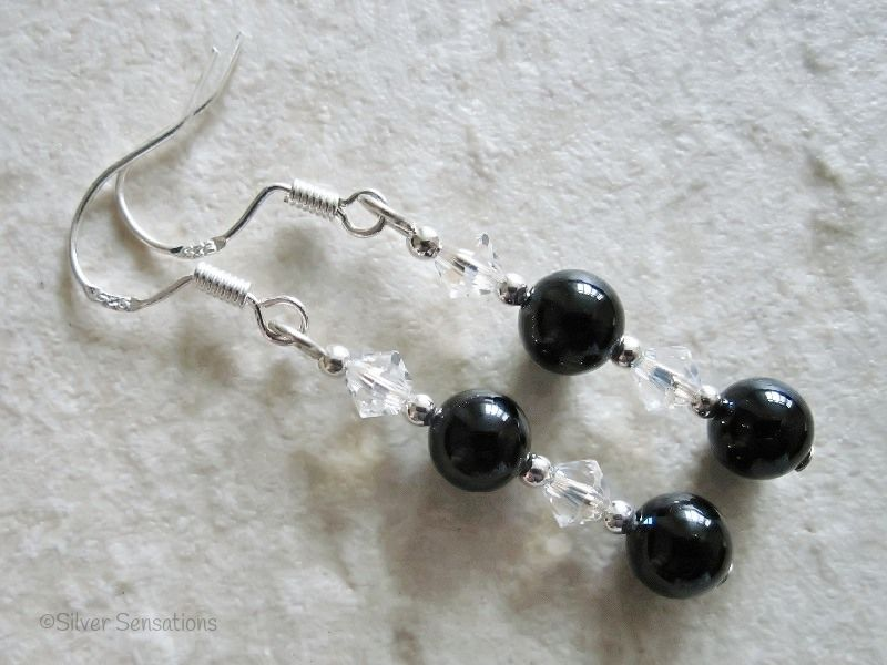 Black Onyx, Swarovski Crystals & Sterling Silver Earrings