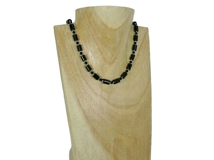 Black Onyx Tubes Unique Necklace With Swarovski Crystals & Sterling Silver