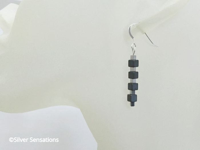 Black & Silver Hematite Cubes Sterling Silver Earrings