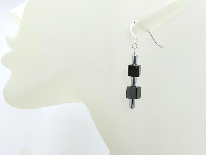 Black & Silver Hematite Cubes & Tubes Earrings
