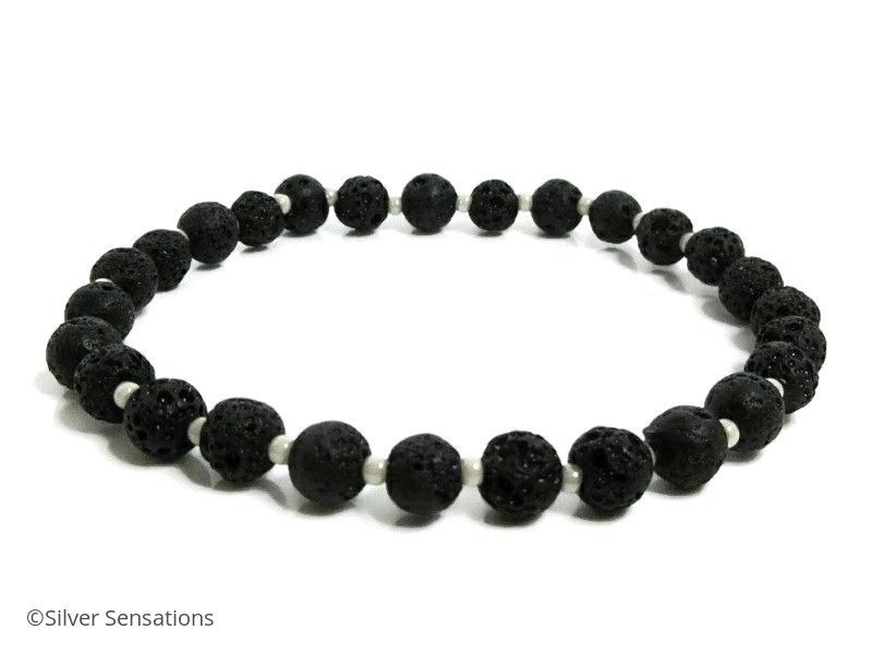 Black Volcano Lava Rock Beaded Stretch Bracelet