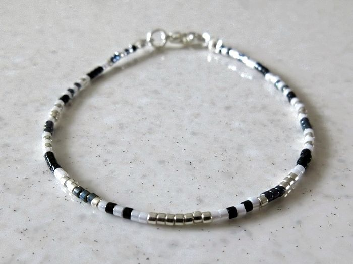 Black, White & Silver Seed Bead Friendship Bracelet