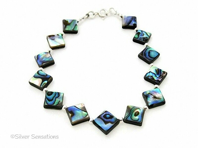 Blue & Green Diamond Shaped Abalone Paua Shell Beads & Sterling Silver Bracelet
