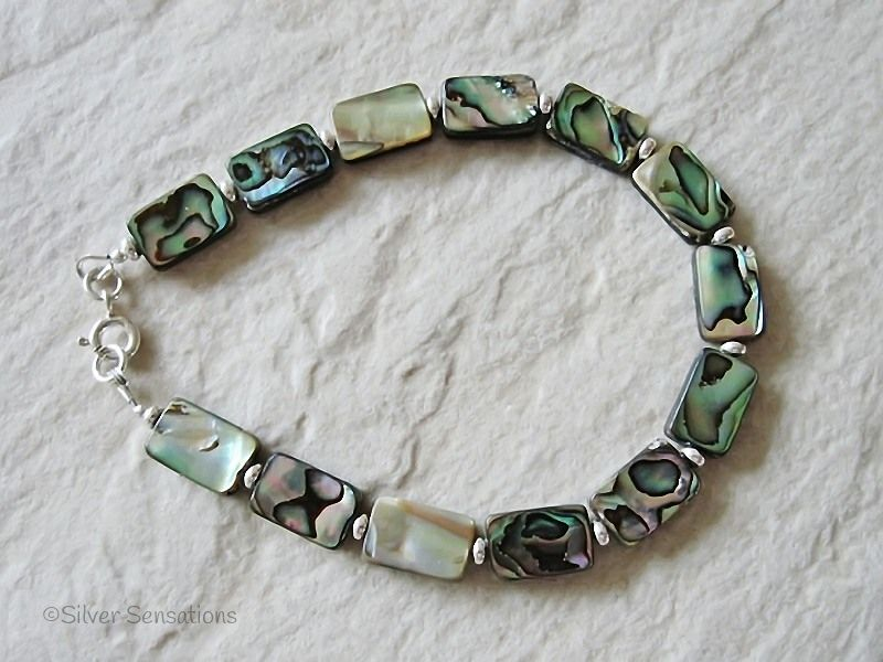 Blue & Green Flat Oblong Abalone Paua Shell Beads & Sterling Silver Bracelet