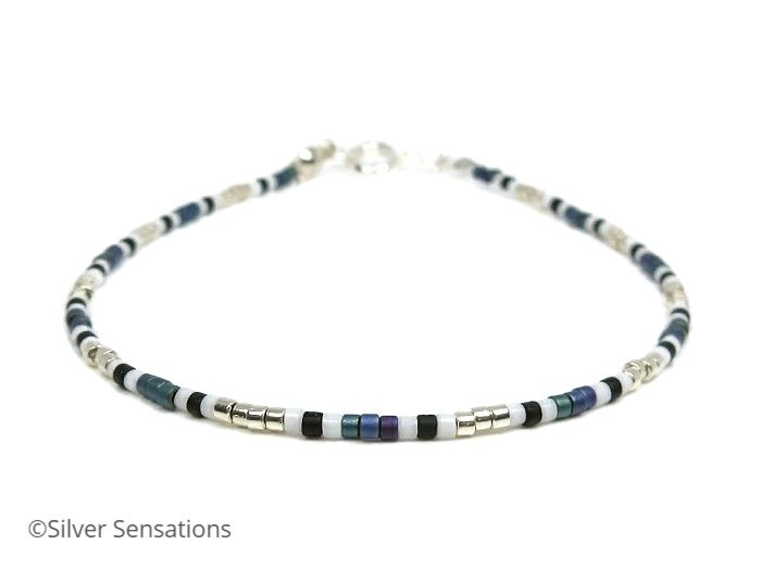 Blue Green, White & Silver Seed Bead Surfer Anklet
