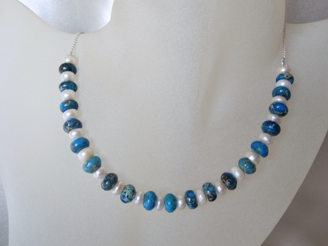 Blue Sea Sediment Impression Jasper, Freshwater Pearls & Sterling Silver Chain Necklace
