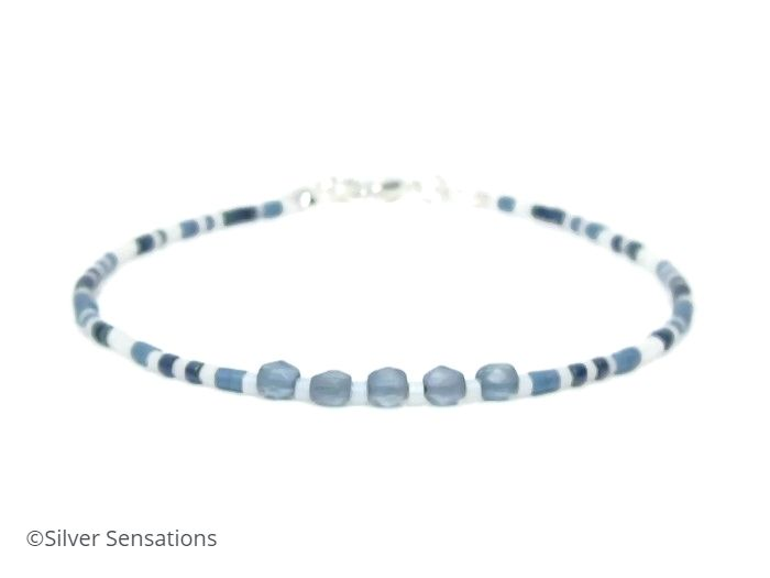 Blue & White Seed Bead Boho Layering Fashion Bracelet
