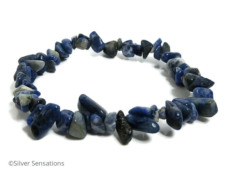 Blue & White Sodalite Smooth Tumbled Chips Beaded Bracelet