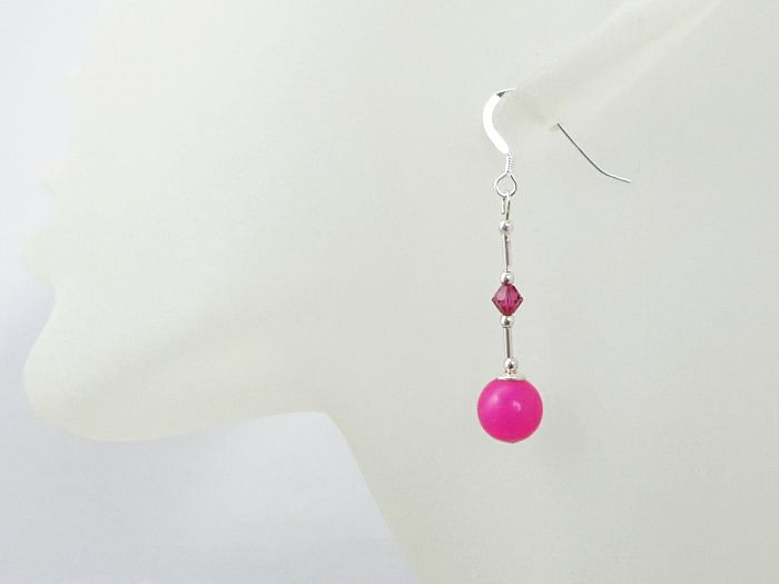 Bright Pink Jade Earrings With Sterling Silver & Swarovski Crystals