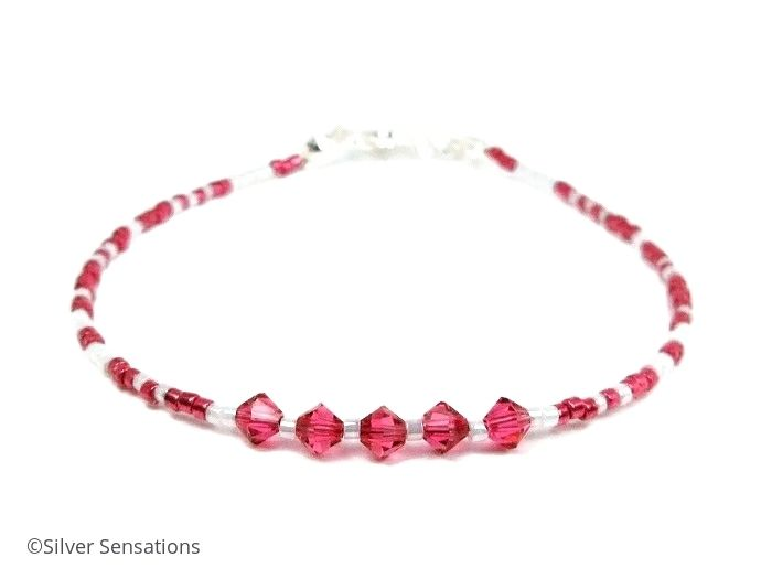 Bright Pink & White Seed Bead Stacking Bracelet With Swarovski Crystals | Silver Sensations