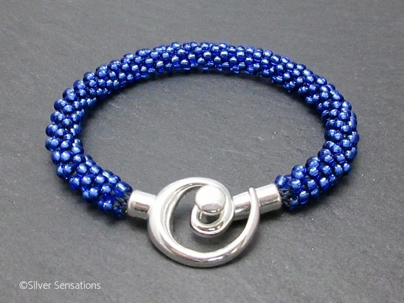 Bright Silvery Sapphire Blue Beaded & Woven Kumihimo Seed Bead Bracelet