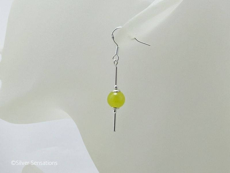 Bright Yellow Jade & Sterling Silver Tubes Drop Earrings