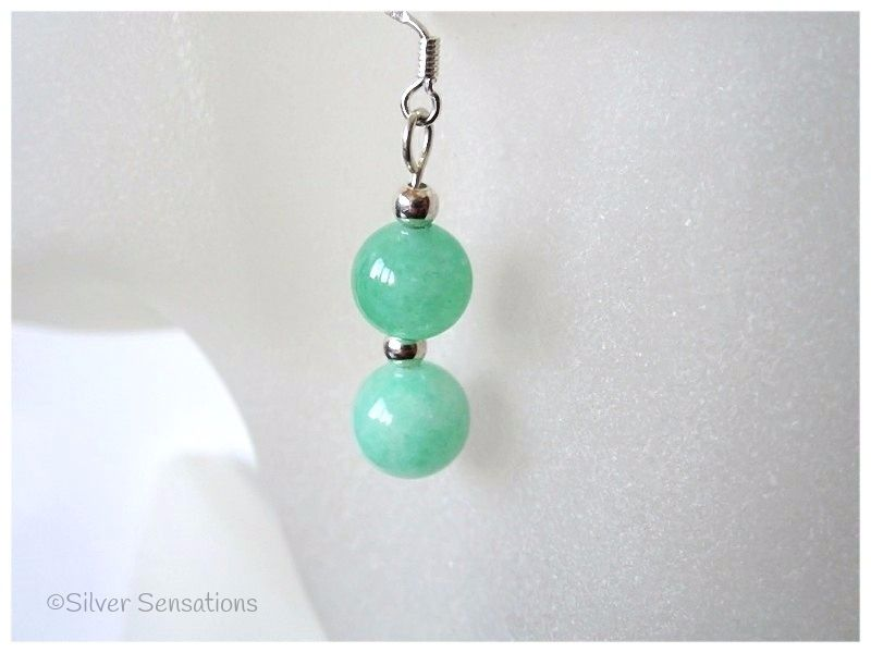 Brighter Green Aventurine Rounds & Sterling Silver Earrings
