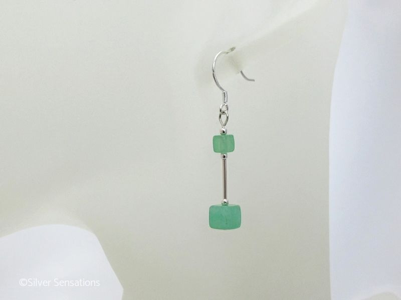 Brighter Green Aventurine Square Cubes & Sterling Silver Tube Earrings