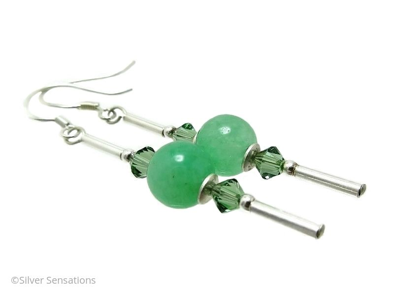 Brighter Green Aventurine, Swarovski Crystals & Sterling Silver Earrings