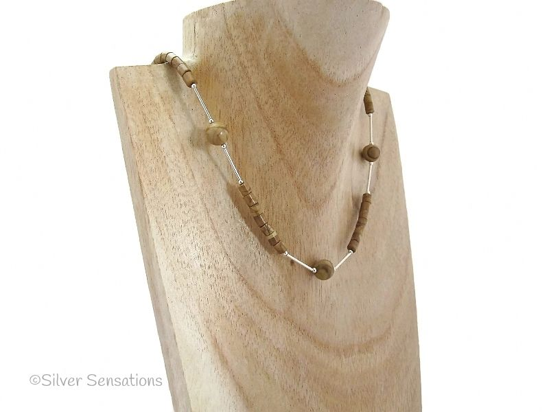 Brown Gold Lace Agate & Sterling Silver Unisex Necklace