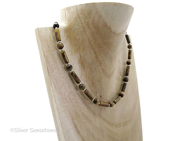 Brown & Gold Tiger's Eye Column Tubes & Sterling Silver Necklace