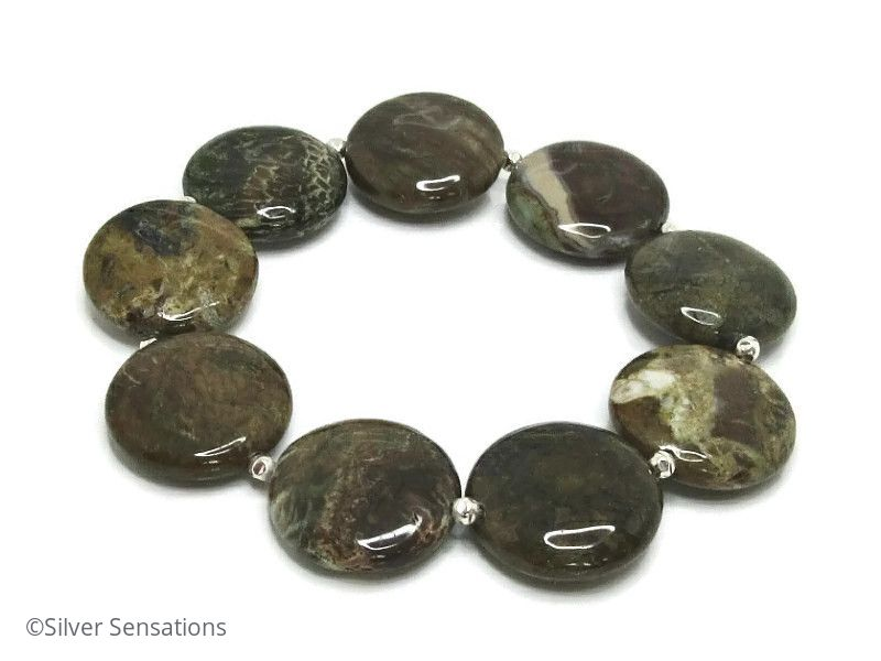 Brown & Green Snakeskin Jasper Coin Gemstone Beads & Sterling Silver Bracelet