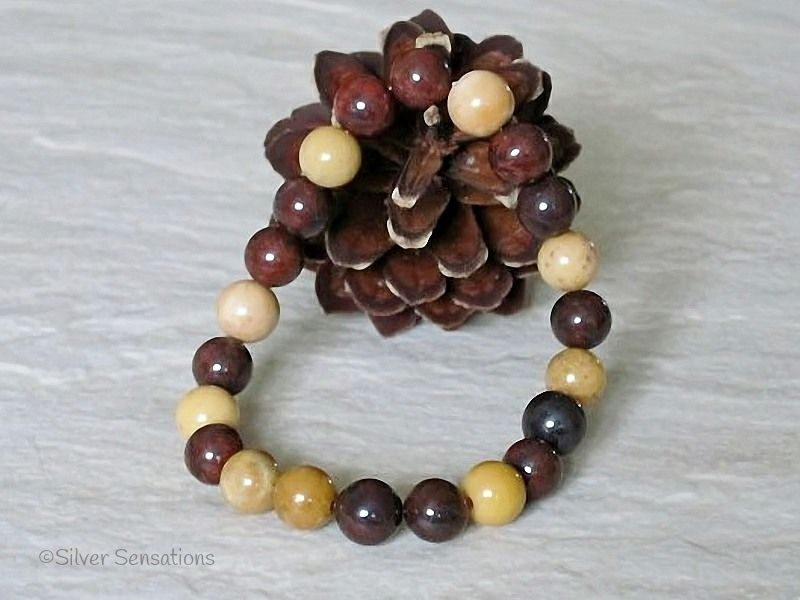 Brown & Mustard Golds Mookaite Jasper Beaded Stretch Bracelet