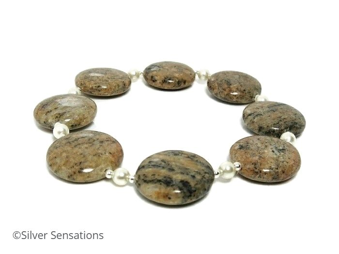 Brown Sesame Jasper Coins Bracelet With Sterling Silver & Swarovski Pearls | Silver Sensations