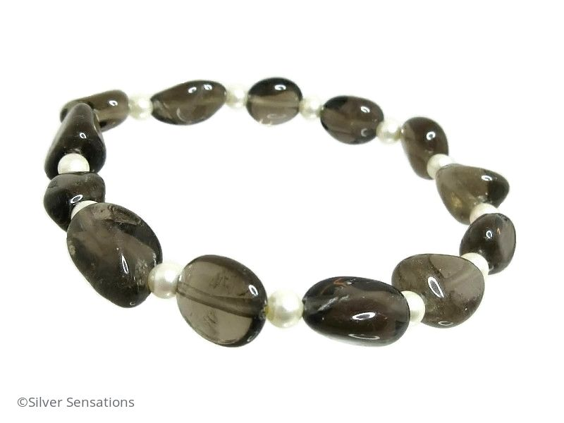 Brown Smokey Quartz Nuggets & Ivory Cream Swarovski Pearls Bracelet
