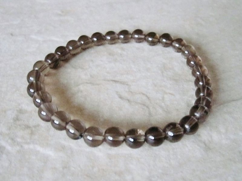 Brown Smokey Quartz Slim Beaded Bracelet