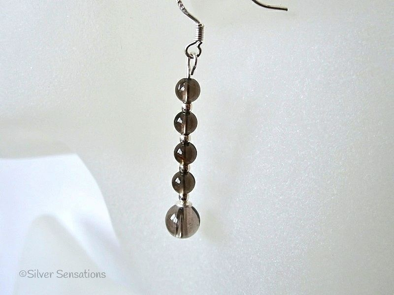 Brown Smokey Quartz Stack Drop Sterling Silver Earrings | Silver Sensations