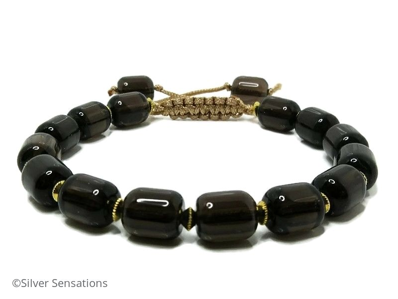 Brown Smokey Quartz Unisex Macrame Sliding Knot Bracelet
