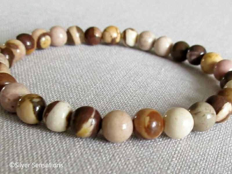 Browns Creams & Beige Zebra Jasper Beaded Slim Bracelet