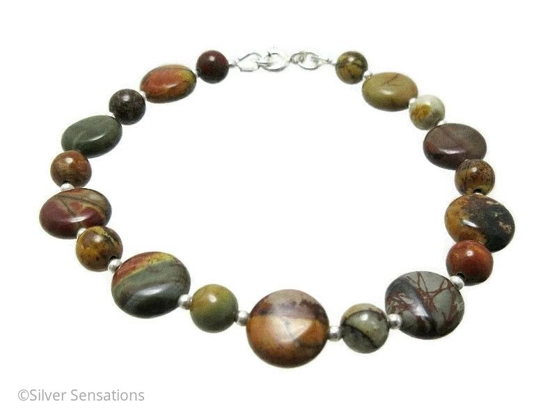 Burgundy, Browns & Golds, Picasso Jasper Coins & Sterling Silver Beads Bracelet