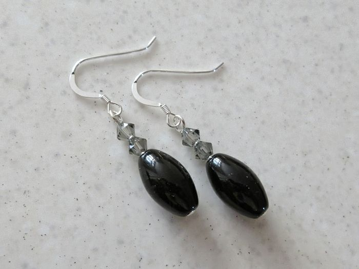 Chunky Black Onyx Rice Beads & Swarovski Crystals Sterling Silver Earrings